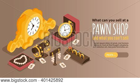 Pawn Shop Horizontal Web Banner Offering Valuable Items Which We Can Sell Or Pawn Isometric Vector I