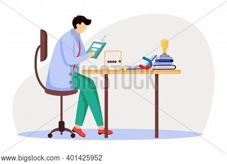 Scientist At His Working Place Flat Vector Illustration. Man In Blue Lab Coat. University Professor.