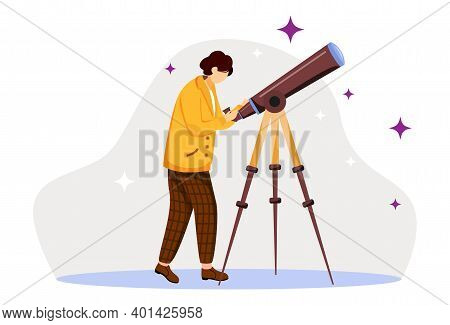 Astronomer Flat Vector Illustration. Observing Stars, Planets, Sky. Scientist With Special Equipment