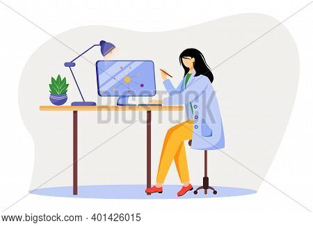 Scientist At Working Place Flat Vector Illustration. Woman In Blue Lab Coat. University Professor. P