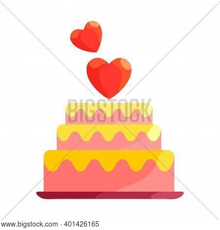 Vector Pink Birthday Cake With Two Love Symbols. Illustration Of Wedding Anniversary, Valentine's Da