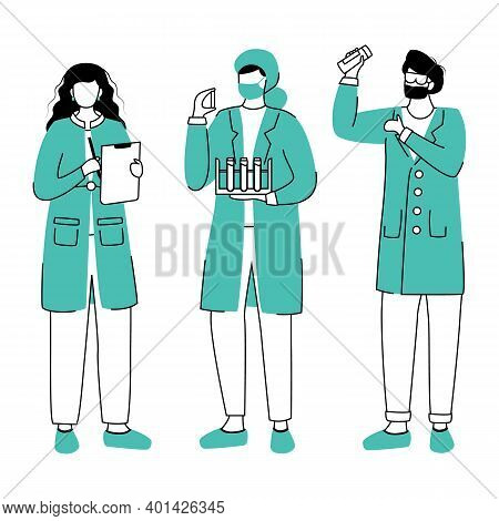 Scientists In Lab Coats Flat Contour Vector Illustration. Conducting Experiment Simple Drawing. Wome