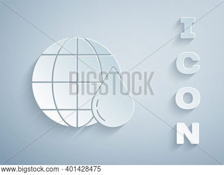 Paper Cut Earth Planet In Water Drop Icon Isolated On Grey Background. World Globe. Saving Water And