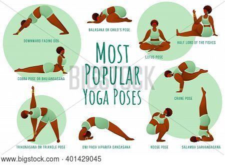 Popular Yoga Poses Green Vector Infographic Template. Body Positive Dark Skin Female. Poster Concept