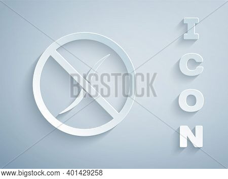 Paper Cut Anti Worms Parasite Icon Isolated On Grey Background. Paper Art Style. Vector
