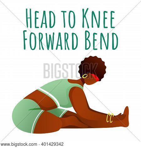 Head To Knee Forward Bend Social Media Post Mockup. Janu Sirsasana. Woman Doing Yoga. Web Banner Des