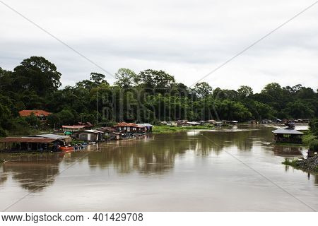 View Landscape Water Flowing And Life Of Thai People Fishery For Thai People And Foreign Travelers T