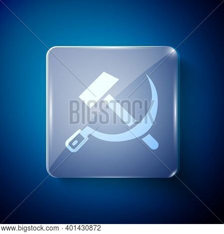 White Hammer And Sickle Ussr Icon Isolated On Blue Background. Symbol Soviet Union. Square Glass Pan