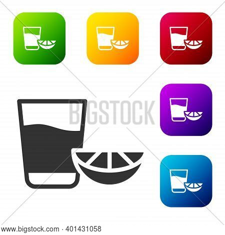 Black Tequila Glass With Lemon Icon Isolated On White Background. Mexican Alcohol Drink. Set Icons I