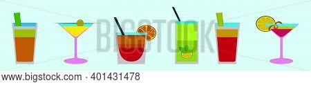 Set Of Cocktail Cartoon Icon Design Template With Various Models. Modern Vector Illustration Isolate