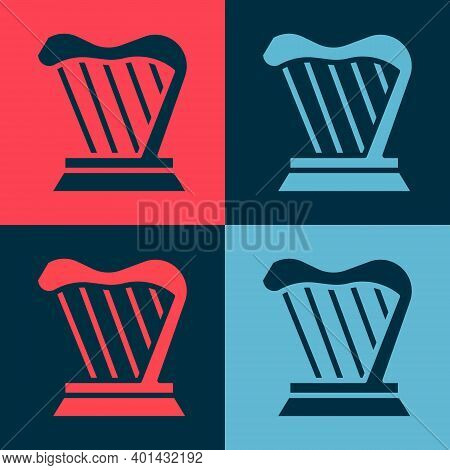 Pop Art Harp Icon Isolated On Color Background. Classical Music Instrument, Orhestra String Acoustic