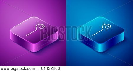 Isometric Magic Staff Icon Isolated On Blue And Purple Background. Magic Wand, Scepter, Stick, Rod.