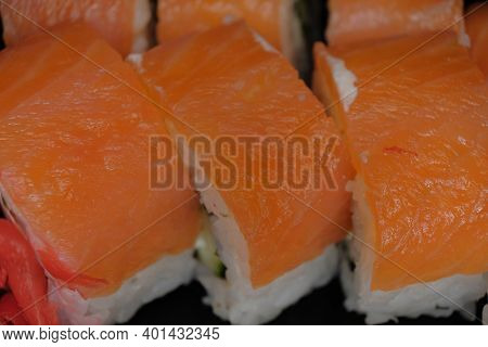 Macro Of The Japanese Food Rolls With Salted Salmon.