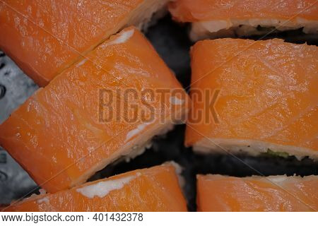 Macro Of The Oriental Food Rolls With Salted Or Fresh Salmon.