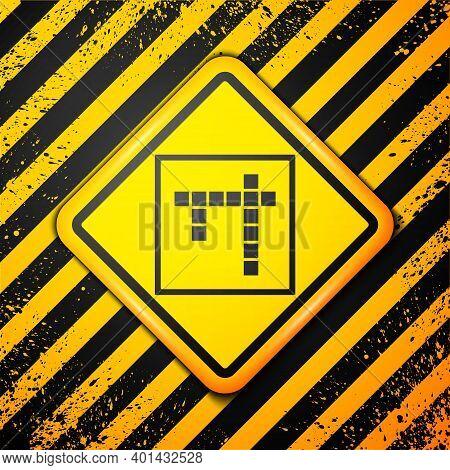 Black Bingo Icon Isolated On Yellow Background. Lottery Tickets For American Bingo Game. Warning Sig
