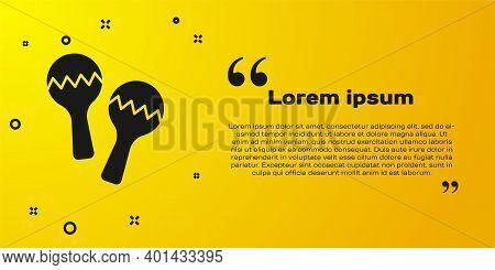 Black Maracas Icon Isolated On Yellow Background. Music Maracas Instrument Mexico. Vector