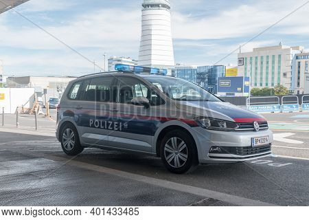 Vienna, Austria - August 31, 2020: Austrian Police Car Parked At Airport.