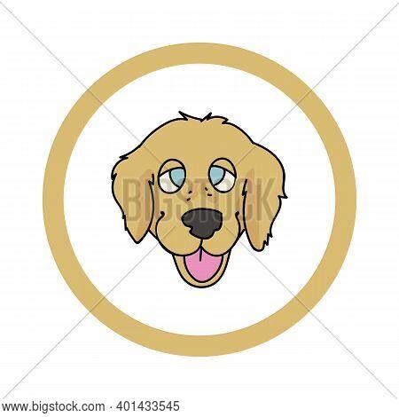 Cute Cartoon Golden Retriever Face In Circle Dog Vector Clipart. Pedigree Kennel Doggie Breed For Ke