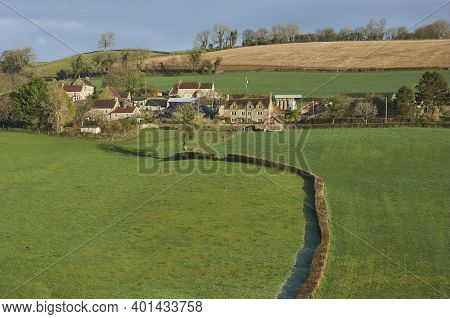 Winter In The Woolley Valley, An Area Of Outstanding Natural Beauty In The Cotswolds On The Outskirt