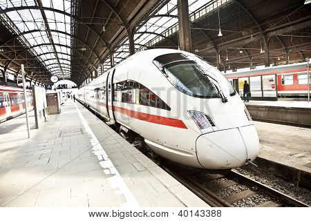 FRANKFURT, GERMANY - FEB 2, 2010: modern highspeed train in historic Frankfurt Main Station.