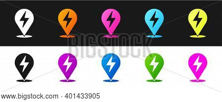 Set Lightning Bolt Icon Isolated On Black And White Background. Flash Icon. Charge Flash Icon. Thund
