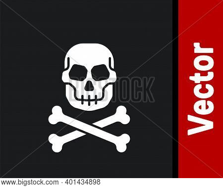 White Skull On Crossbones Icon Isolated On Black Background. Happy Halloween Party. Vector