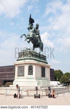 Vienna, Austria - July 31, 2019: Equestrian Statue Of Archduke Charles On Heldenplatz, Hofburg