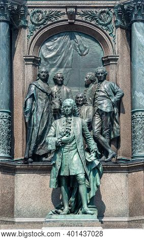 Fragment Of Monument To Austrian Empress Maria Theresa In Vienna. Cabinet Of Ministers Of The Empres