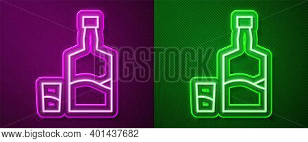 Glowing Neon Line Tequila Bottle And Shot Glass Icon Isolated On Purple And Green Background. Mexica