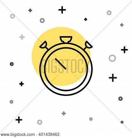 Black Line Stopwatch Icon Isolated On White Background. Time Timer Sign. Chronometer Sign. Random Dy