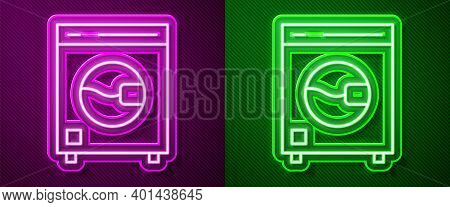 Glowing Neon Line Washer Icon Isolated On Purple And Green Background. Washing Machine Icon. Clothes