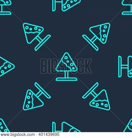Green Line Road Sign Avalanches Icon Isolated Seamless Pattern On Blue Background. Snowslide Or Snow