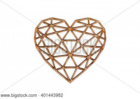 Wooden openwork heart isolated on white background