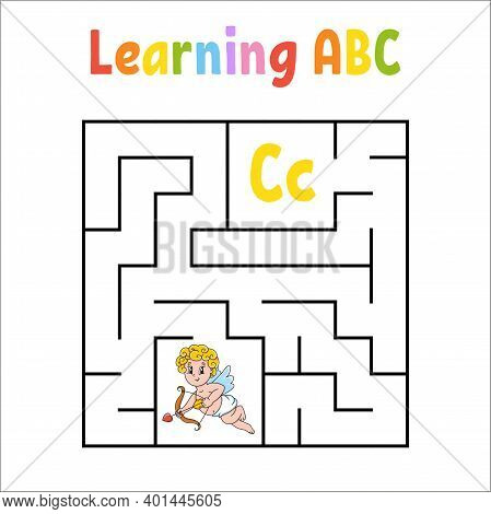 Square Maze. Game For Kids. Quadrate Labyrinth. Education Worksheet. Activity Page. Learning English