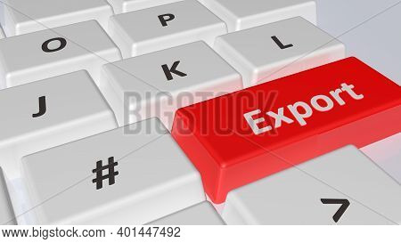 Export Write On The Red Key Of A White Computer Keyboard - 3d Rendering Illustration