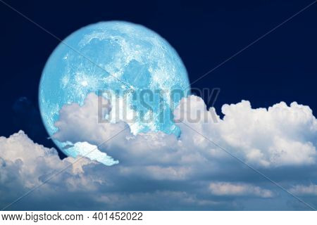 Super Blue Moon And White Silhouette Cloud Sky In The Night Sky