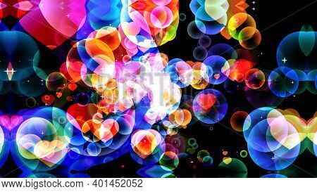 Rainbow Bubbles  Abstract Dimension Dark Tone With Hearts