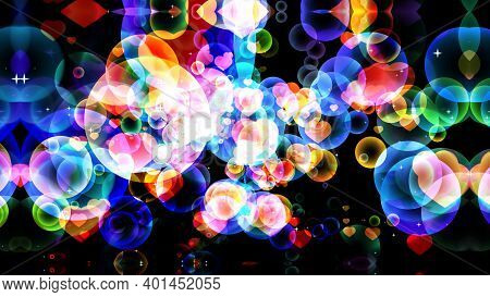 Abstract Dimension Rainbow Dark Tone Bubbles With Hearts On Black Background