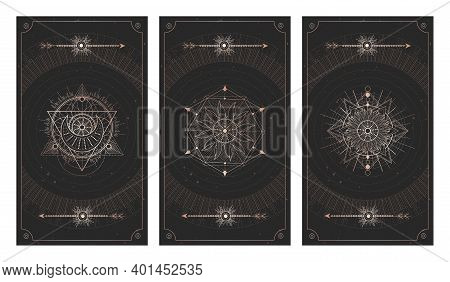 Vector Set Of Three Dark Backgrounds With Sacred Symbols, Grunge Textures And Frames. Abstract Mysti