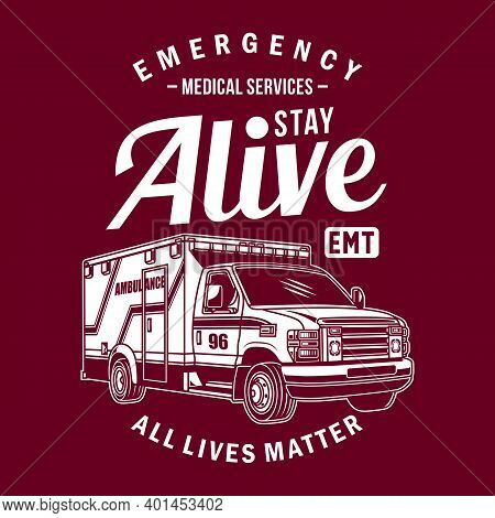 Ambulance Van Vector Graphic, Ambulance Van Graphic T-shirt