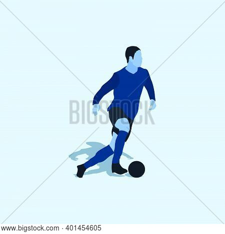 Smooth Dribbling In Soccer - Two Tone Flat Illustration - Shot, Dribble, Celebration And Move In Soc