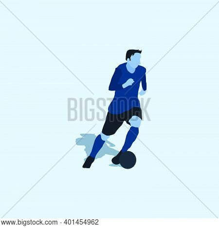 Left Footed Well Dribbling - Two Tone Illustration - Shot, Dribble, Celebration And Move In Soccer