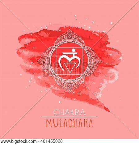 Vector Illustration With Symbol Chakra Muladhara On Watercolor Background. Circle Mandala Pattern An