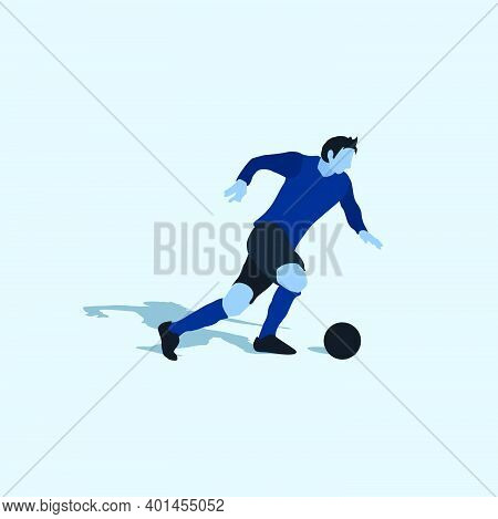 Right Footed Fast Dribbling - Two Tone Illustration - Shot, Dribble, Celebration And Move In Soccer