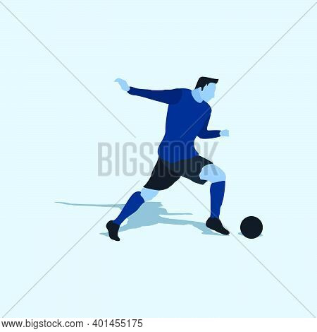 Right Footed Fast Escape Dribbling - Two Tone Illustration - Shot, Dribble, Celebration And Move In