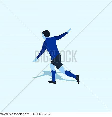 Aero Plane Goal Celebration - Two Tone Flat Illustration - Shot, Dribble, Celebration And Move In So