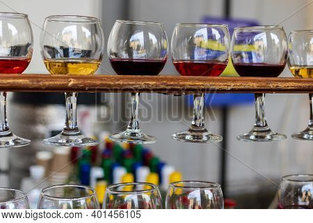 Red, Rose And White Wine In Glasses. Tasting Of Various Varieties, Colors And Shades Of Wine. Set Of