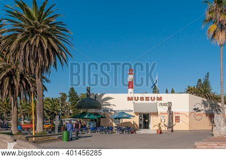 Swakopmund, Namibia - June 18, 2012: A Street Scene, With The Historic Brewery Building In Swakopmun