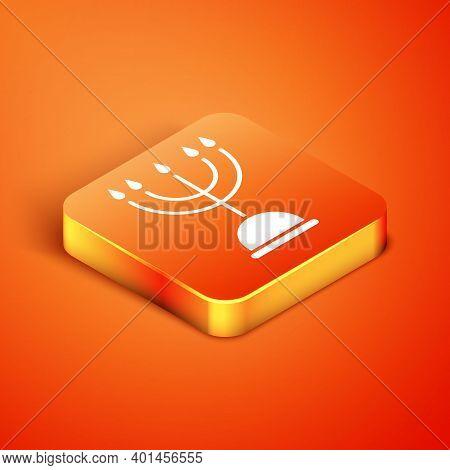 Isometric Hanukkah Menorah Icon Isolated On Orange Background. Hanukkah Traditional Symbol. Holiday