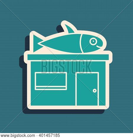 Green Seafood Store Icon Isolated On Green Background. Facade Of Seafood Market. Long Shadow Style.